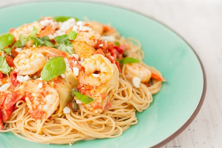 Creamy Shrimp Pasta with Artichokes and Roasted Red Peppers