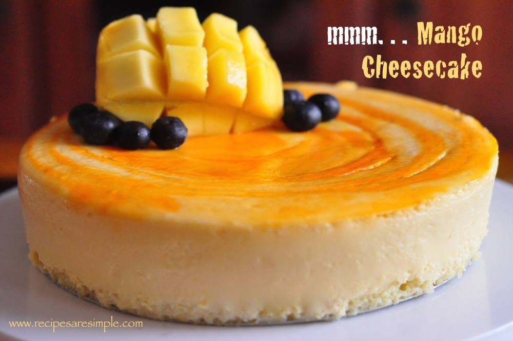 Mango Cheesecake with Sponge Base