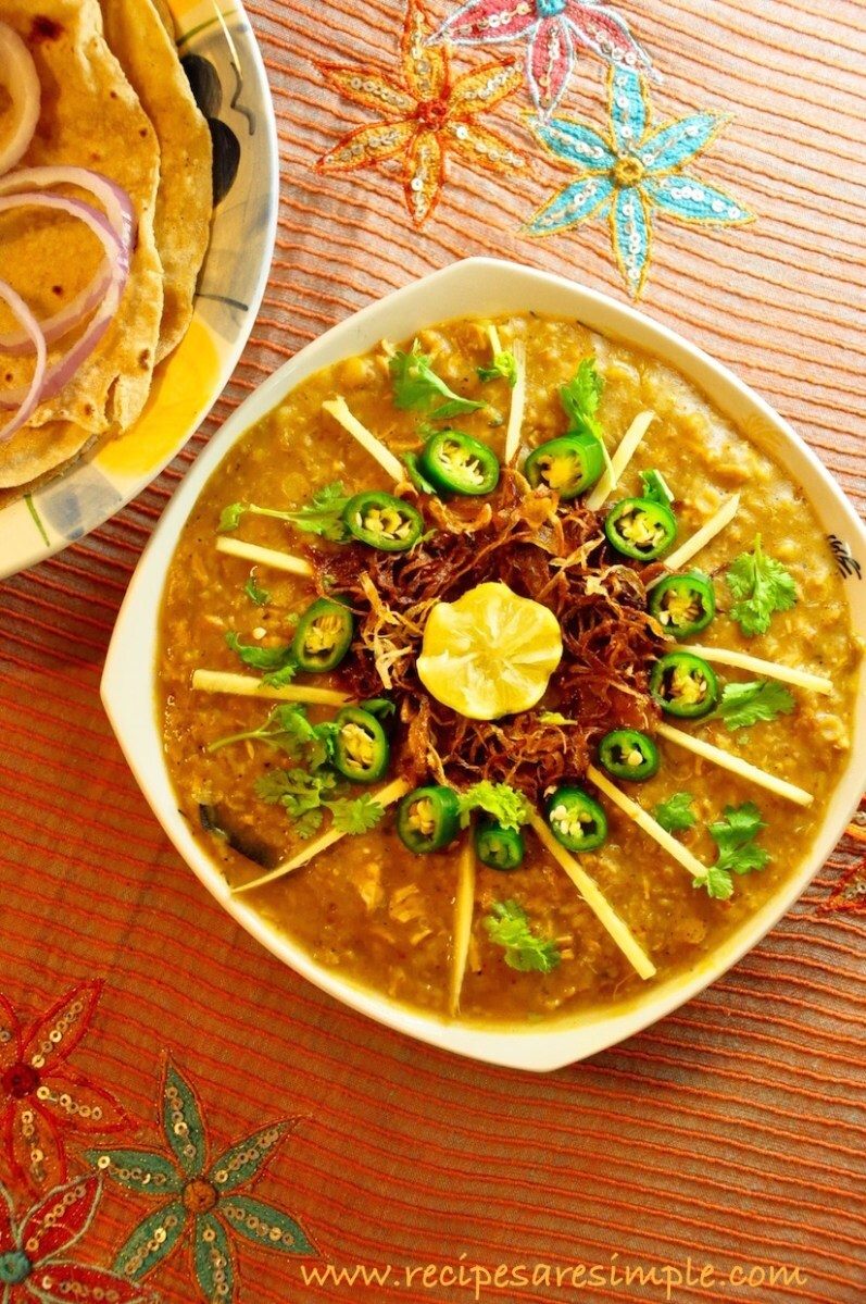 Chicken Haleem –  Chicken stewed with Dals and Broken Wheat