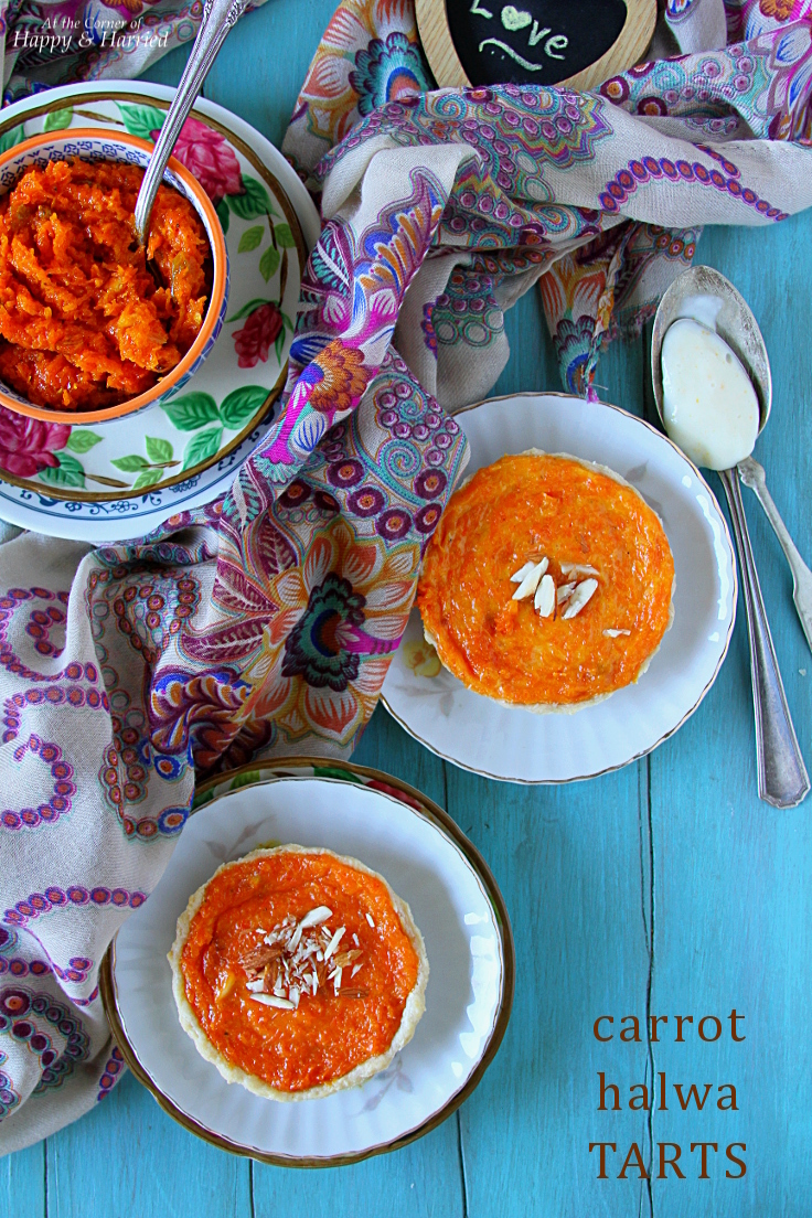 Carrot Halwa Tarts {With Vanilla Orange Custard}