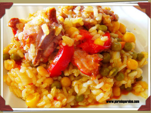 Arroz con legumbres y costillas adobadas