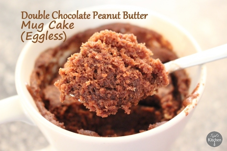 Mug Monday – Double Chocolate Peanut Butter Mug Cake (Eggless)