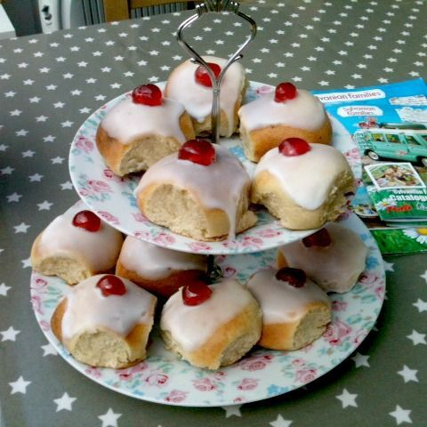 iced buns with cherry