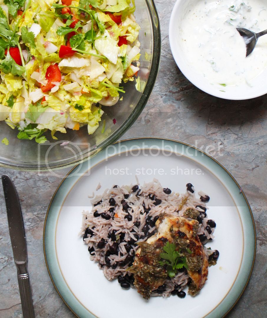 Recipe: Jerk Chicken, Rice & Beans, Zingy Chopped Salad
