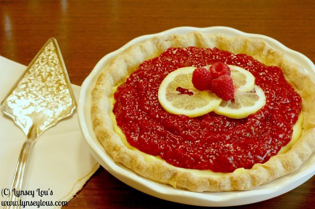 Lemon Cream Pie with Raspberry Beer Sauce