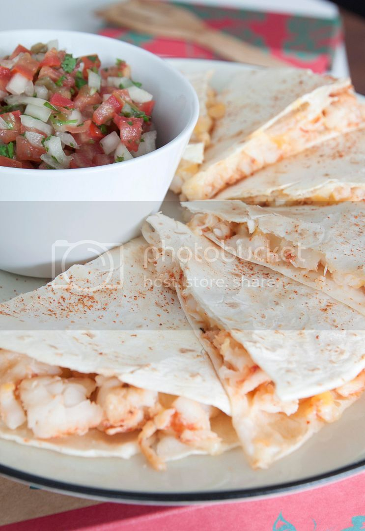 Grilled Shrimp Quesadilla with Spicy Homemade Salsa - Carne Asada Seasoning Also Works Well on Seafood
