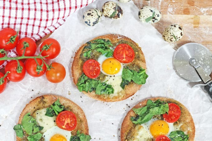 Breakfast Pizza with Quail Eggs, Tomato & Spinach