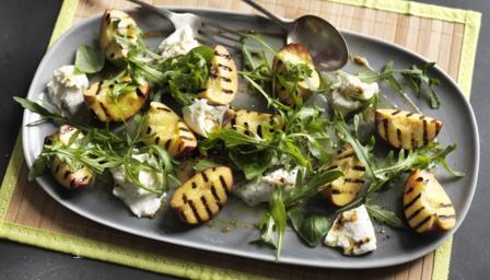 Grilled peach, burrata and basil salad with Dijon dressing