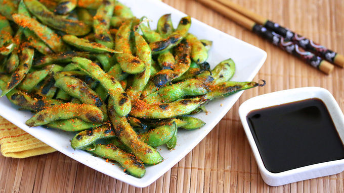 Spicy Grilled Edamame Snack