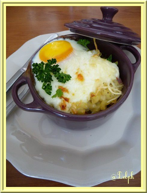 Oeuf cocotte aux coquillettes