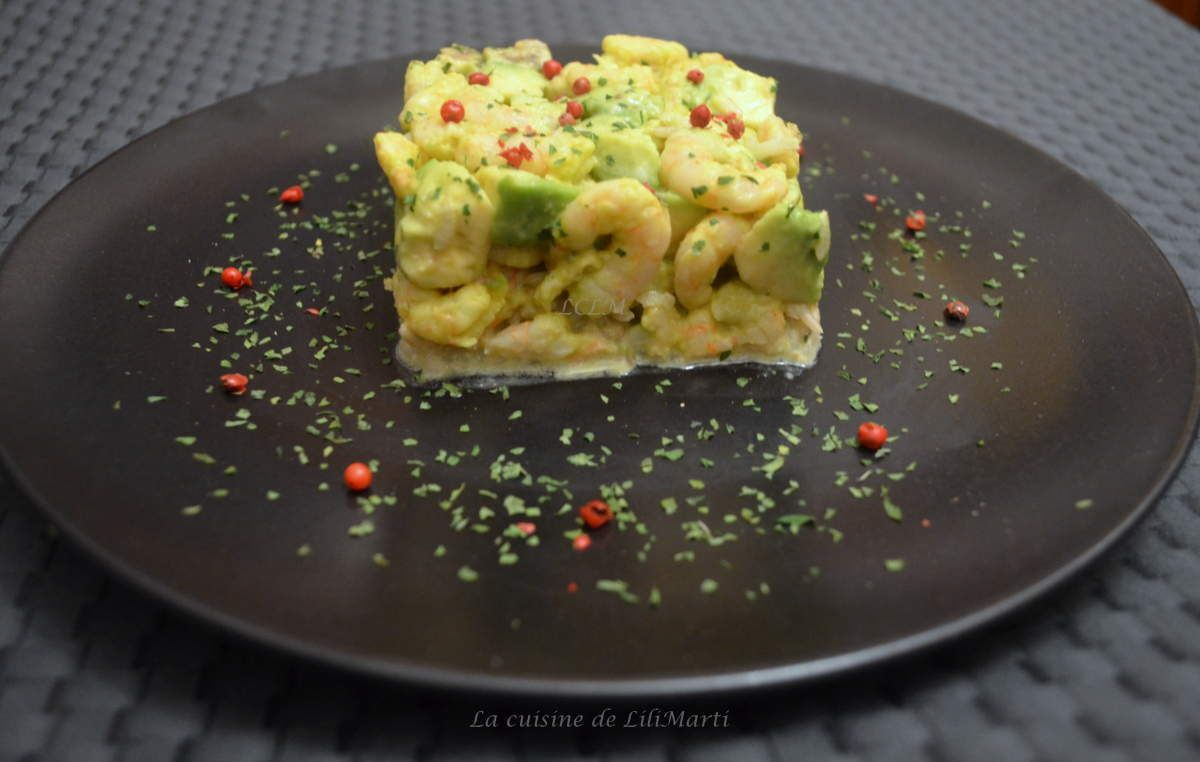 Salade  avocat, crevettes, riz complet, mayonnaise wasabi