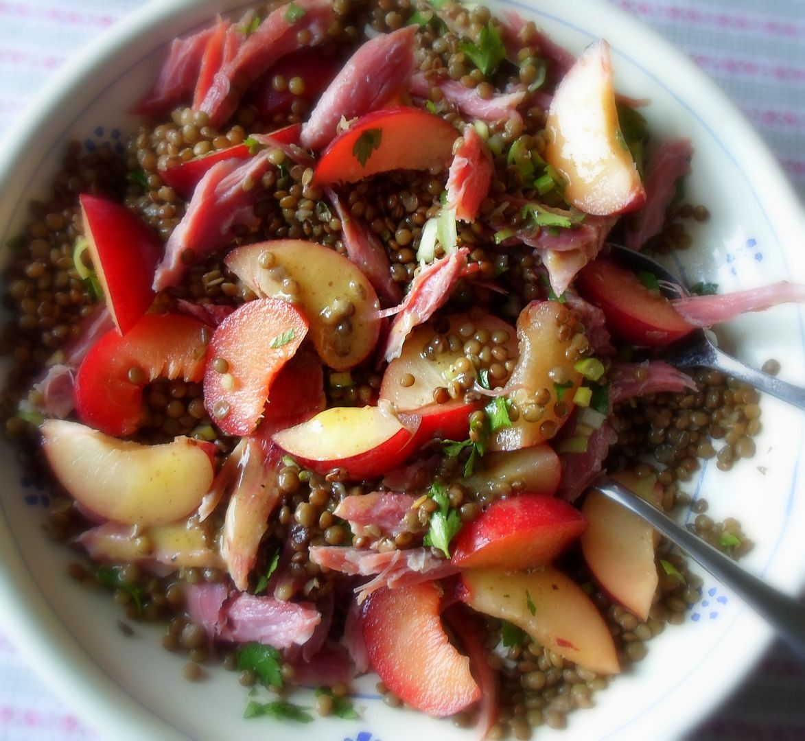 An Autumn Salad of Fresh Plums, Ham Hock and Lentils