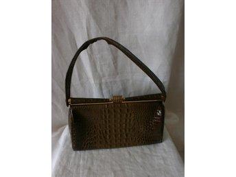 väska,handväska i krokodilimitation,vintage, 50-tal