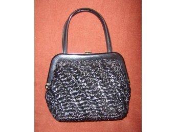väska,vintage,60 tal,svart flätad handväska,Italy