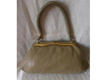 väska,handväska i läder, vintage,50-tal