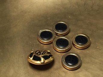 Knappar i guld o svart 6 st