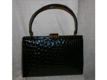 väska,krokodilpräglad väska,vintage,50-tal,äkta läder (EJ äkta krokodil)
