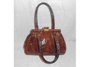 väska i äkta läder, ormmönstrad (ej äkta) vintage, 30-tal