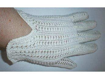 handskar,vita handvirkade handskar,vintage,60-tal