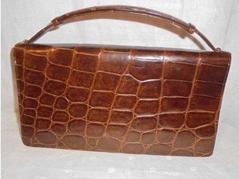väska, krokodilpräglad läderväska, vintage, 50-tal (ej äkta krokodil)