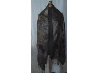 sjal, bruna toner med silver,pashmina