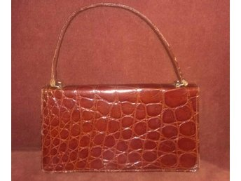 väska i äkta läder med krokodilmönster 8ej äkta)vintage, 60-tal