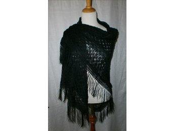 sjal i svart siden,silke,vintage,antik, ca 1890-1900