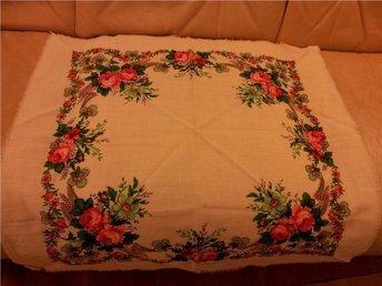 folkdräkt sjal  blomstersjal  Dalarna  retro