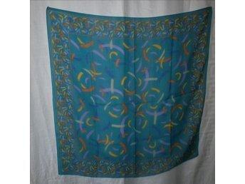 sjal blå med mönster,vintage