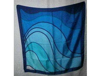 sjal i silke med blå toner
