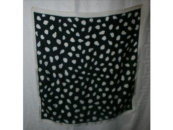 sjal i äkta siden, svart-vit, vintage