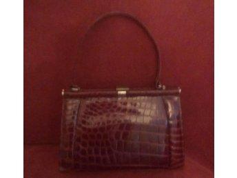 väska i läder med krokodilmönster (ej äkta kroko), vintage, 40-tal