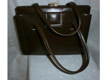 väska, handväska i brun konstläder,vintage,60-tal