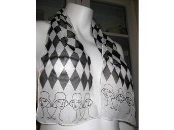 NY scarf fraktfritt damer svart/vit/rutig pinup rockabill 50
