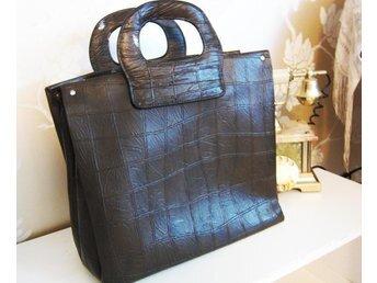 VINTAGE fri frakt stor brun handväska väska retro 60-tal