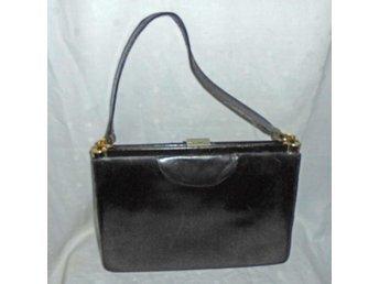väska i svart läder,vintage, 30-tal