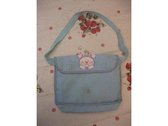 Handväska - Rutig med Kanin (Blå / Vit)
