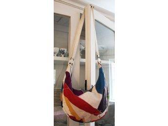Fri frakt vintage väska röd vit grön blå lappad patchwork 70-tal boho