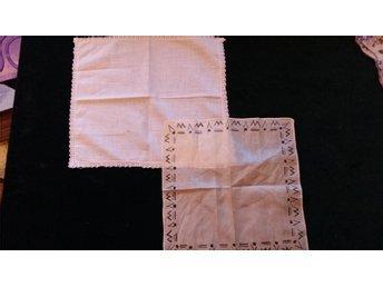 näsdukar siden med bård / bomull med spets  40/ 50-tal retro