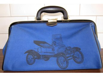 VINTAGE väska fri frakt bil/blå trunk/bag/weekend retro pop rockabilly veteran