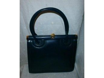väska i marinblå konstläder,vintage, 60-tal