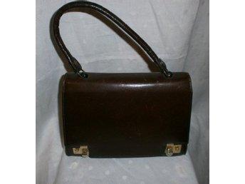 väska, liten brun läderväska,vintage,60-tal