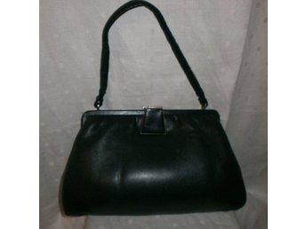 väska, mörkblå läderväska,vintage, 50-60-tal