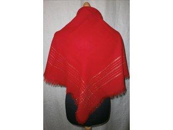 sjal, röd sjal med guldtrådar