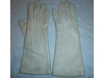 handskar i vit läder, vintage, 50-tal