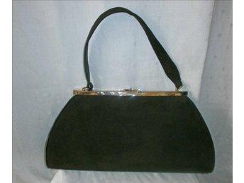 väska i brun mocka läder,vintage, 50-tal