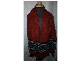 halsduk,röd med svart och grått, merino ylle