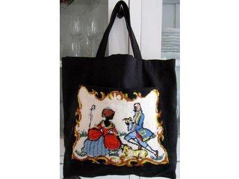 FRI FRAKT Nysydd svart väska/handväska/bag vintage korstygn broderad tavla