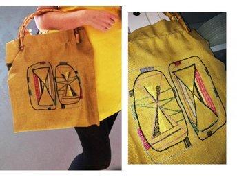 50-tal fri frakt vintage gul väska handväska stor kasse väv tygkasse retro
