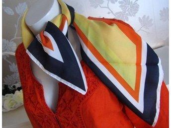Vintage fri frakt Leonardi scarf orange gul marin blå vit randig retro 70-tal